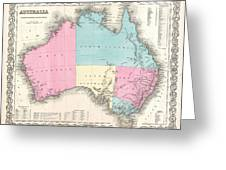 1855 Colton Map Of Australia Greeting Card