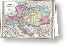 1855 Colton Map Of Austria Hungary And The Czech Republic Greeting Card
