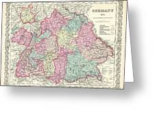 1855 Colton Map Of Bavaria Wurtemberg And Baden Germany Greeting Card