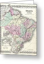 1855 Colton Map Of Brazil And Guyana Greeting Card