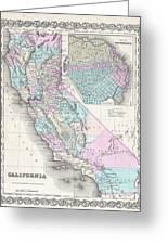 1855 Colton Map Of California And San Francisco Greeting Card