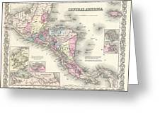 1855 Colton Map Of Central America And Jamaica Greeting Card