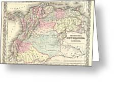 1855 Colton Map Of Columbia Venezuela And Ecuador Greeting Card