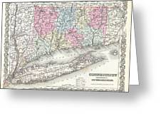 1855 Colton Map Of Connecticut And Long Island Greeting Card