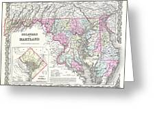 1855 Colton Map Of Delaware Maryland And Washington Dc Greeting Card