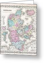 1855 Colton Map Of Denmark Greeting Card