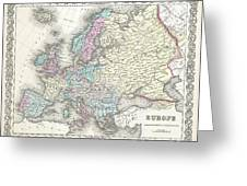 1855 Colton Map Of Europe Greeting Card