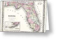 1855 Colton Map Of Florida Greeting Card