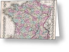 1855 Colton Map Of France Greeting Card