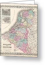 1855 Colton Map Of Holland And Belgium Greeting Card