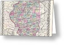 1855 Colton Map Of Illinois Greeting Card