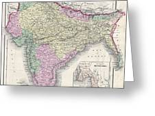 1855 Colton Map Of India Or Hindostan Greeting Card