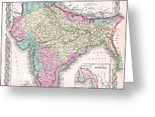 1855 Colton Map Of India Greeting Card