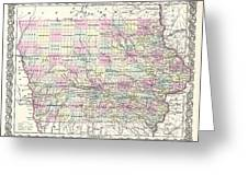 1855 Colton Map Of Iowa Greeting Card