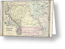 1855 Colton Map Of Kansas And Nebraska  Greeting Card