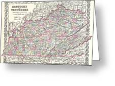 1855 Colton Map Of Kentucky And Tennessee Greeting Card
