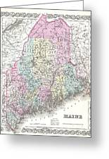 1855 Colton Map Of Maine Greeting Card