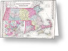 1855 Colton Map Of Massachusetts And Rhode Island Greeting Card