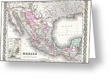 1855 Colton Map Of Mexico - Geographicus1855 Colton Map Of Mexico - Geographicus Greeting Card