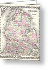1855 Colton Map Of Michigan Greeting Card