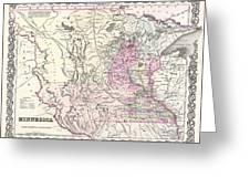 1855 Colton Map Of Minnesota Greeting Card
