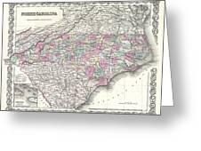1855 Colton Map Of North Carolina Greeting Card