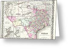 1855 Colton Map Of Texas Greeting Card