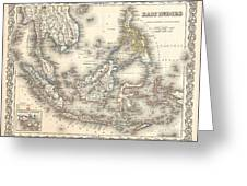 1855 Colton Map Of The East Indies Singapore Thailand Borneo Malaysia Greeting Card