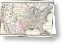1855 Colton Map Of The United States  Greeting Card
