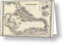 1855 Colton Map Of The West Indies Greeting Card