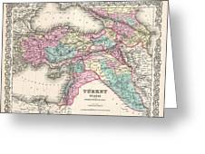 1855 Colton Map Of Turkey Iraq And Syria Greeting Card