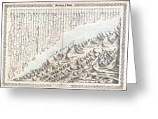 1855 Colton Map Or Chart Of The Worlds Mountains And Rivers Greeting Card