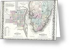 1855 Colton Plan Or Map Of Charleston South Carolina And Savannah Georgia Greeting Card