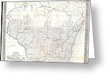 1856 Chapman Pocket Map Of Wisconsin Greeting Card