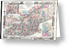 1856 Colton Pocket Map Of New England And New York Greeting Card