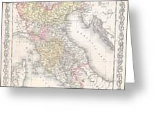 1856 Desilver Map Of Northern Italy Greeting Card