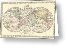1856 Desilver Map Of The World  Greeting Card