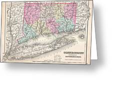 1857 Colton Map Of Connecticut And Long Island Greeting Card