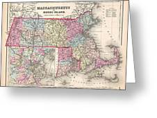 1857 Colton Map Of Massachusetts And Rhode Island Greeting Card