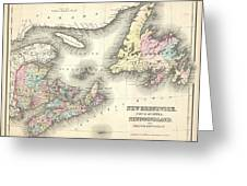 1857 Colton Map Of New Brunswick And Newfoundland Canada Greeting Card