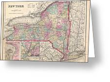 1857 Colton Map Of New York Greeting Card