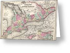 1857 Colton Map Of Ontario Canada Greeting Card