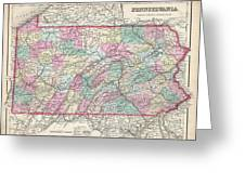1857 Colton Map Of Pennsylvania Greeting Card