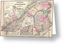 1857 Colton Map Of Quebec And New Brunswick Canada Greeting Card