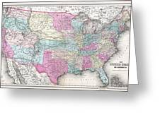 1857 Colton Map Of The United States  Greeting Card