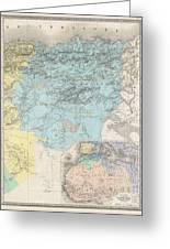 1857 Dufour Map Of Constantine Algeria Greeting Card