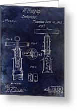 1862 Corkscrew Patent Drawing Greeting Card