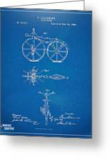 1866 Velocipede Bicycle Patent Blueprint Greeting Card