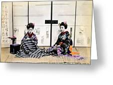 1870 Japanese Geisha In Drawing Room Greeting Card