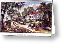 1870s 1800s A Home On The Mississippi - Greeting Card